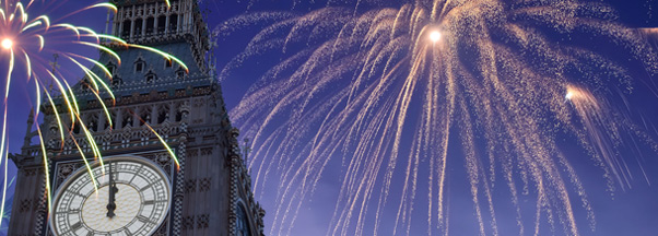 Londres, Big Ben sous les feux d'artifice du Nouvel An
