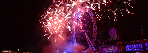 Nouvel an Londres, feu d'artifice au London Eye