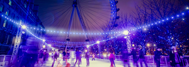 Londres, patinoire au London Eye pour le Nouvel An